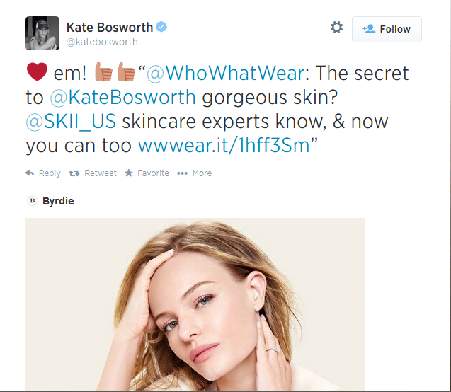 Kate Bosworth uses SKII skincare products.